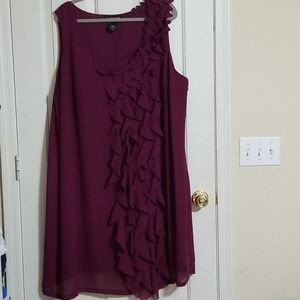 Lane Bryant Size 26 Plum Ruffle Tank Dress